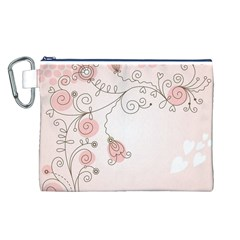 Simple Flower Polka Dots Pink Canvas Cosmetic Bag (l)