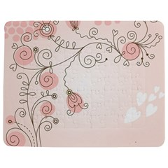 Simple Flower Polka Dots Pink Jigsaw Puzzle Photo Stand (rectangular)