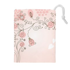 Simple Flower Polka Dots Pink Drawstring Pouches (extra Large)