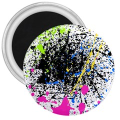 Spot Paint Pink Black Green Yellow Blue Sexy 3  Magnets
