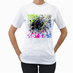 Spot Paint Pink Black Green Yellow Blue Sexy Women s T Shirt (white) (two Sided)