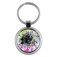 Spot Paint Pink Black Green Yellow Blue Sexy Key Chains (round)