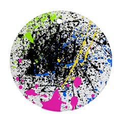 Spot Paint Pink Black Green Yellow Blue Sexy Round Ornament (two Sides)