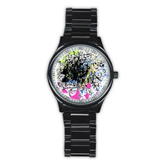 Spot Paint Pink Black Green Yellow Blue Sexy Stainless Steel Round Watch