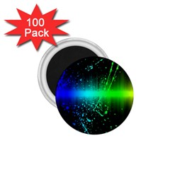 Space Galaxy Green Blue Black Spot Light Neon Rainbow 1 75  Magnets (100 Pack)