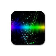 Space Galaxy Green Blue Black Spot Light Neon Rainbow Rubber Square Coaster (4 Pack)