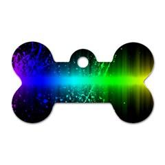 Space Galaxy Green Blue Black Spot Light Neon Rainbow Dog Tag Bone (two Sides)