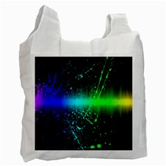 Space Galaxy Green Blue Black Spot Light Neon Rainbow Recycle Bag (one Side)