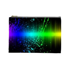 Space Galaxy Green Blue Black Spot Light Neon Rainbow Cosmetic Bag (large)