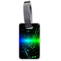 Space Galaxy Green Blue Black Spot Light Neon Rainbow Luggage Tags (two Sides)