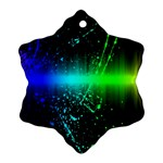 Space Galaxy Green Blue Black Spot Light Neon Rainbow Snowflake Ornament (Two Sides) Back