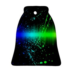 Space Galaxy Green Blue Black Spot Light Neon Rainbow Bell Ornament (two Sides)