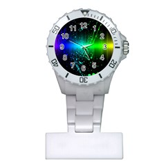 Space Galaxy Green Blue Black Spot Light Neon Rainbow Plastic Nurses Watch
