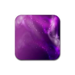 Space Star Planet Galaxy Purple Rubber Square Coaster (4 Pack)