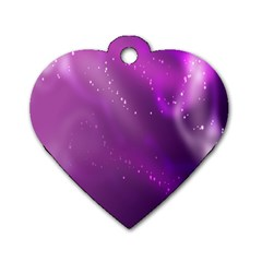 Space Star Planet Galaxy Purple Dog Tag Heart (one Side)