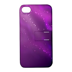 Space Star Planet Galaxy Purple Apple Iphone 4/4s Hardshell Case With Stand