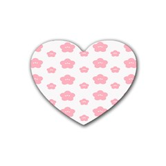 Star Pink Flower Polka Dots Heart Coaster (4 Pack)