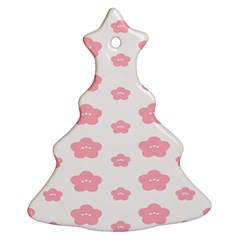 Star Pink Flower Polka Dots Ornament (christmas Tree)
