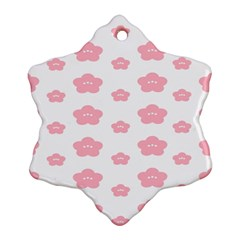 Star Pink Flower Polka Dots Snowflake Ornament (two Sides)