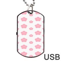 Star Pink Flower Polka Dots Dog Tag Usb Flash (two Sides)