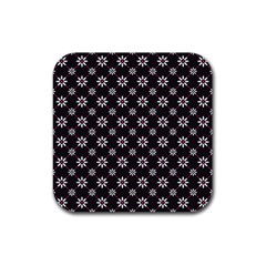 Sunflower Star Floral Purple Pink Rubber Square Coaster (4 Pack)