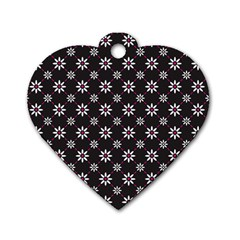 Sunflower Star Floral Purple Pink Dog Tag Heart (two Sides)
