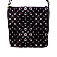 Sunflower Star Floral Purple Pink Flap Messenger Bag (l)