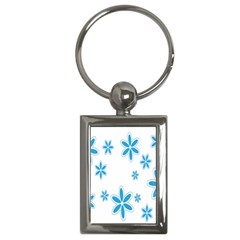 Star Flower Blue Key Chains (rectangle)