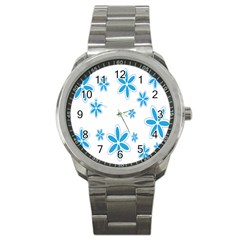 Star Flower Blue Sport Metal Watch