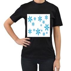 Star Flower Blue Women s T Shirt (black)