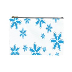 Star Flower Blue Cosmetic Bag (large)