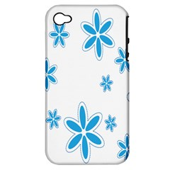 Star Flower Blue Apple Iphone 4/4s Hardshell Case (pc+silicone)