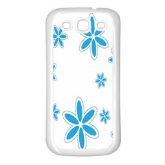Star Flower Blue Samsung Galaxy S3 Back Case (white)