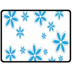 Star Flower Blue Double Sided Fleece Blanket (large)