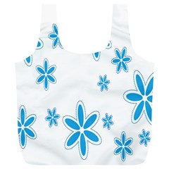 Star Flower Blue Full Print Recycle Bags (l)