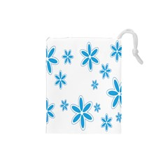 Star Flower Blue Drawstring Pouches (small)