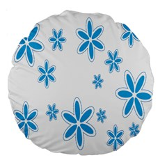 Star Flower Blue Large 18  Premium Flano Round Cushions
