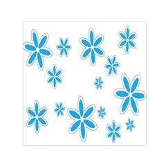 Star Flower Blue Small Satin Scarf (square)