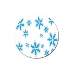 Star Flower Blue Magnet 3  (round)
