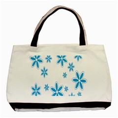 Star Flower Blue Basic Tote Bag (two Sides)