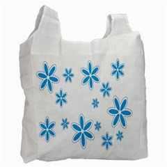 Star Flower Blue Recycle Bag (two Side)