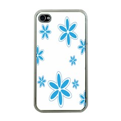 Star Flower Blue Apple Iphone 4 Case (clear)
