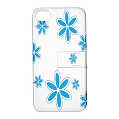 Star Flower Blue Apple Iphone 4/4s Hardshell Case With Stand