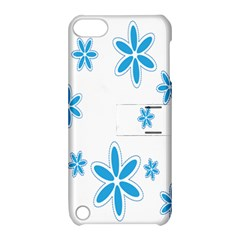 Star Flower Blue Apple Ipod Touch 5 Hardshell Case With Stand