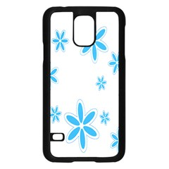 Star Flower Blue Samsung Galaxy S5 Case (black)