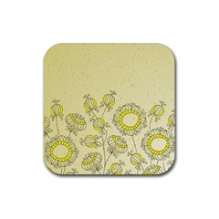 Sunflower Fly Flower Floral Rubber Square Coaster (4 Pack)