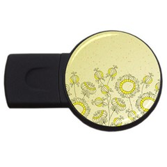 Sunflower Fly Flower Floral Usb Flash Drive Round (2 Gb)