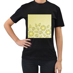 Sunflower Fly Flower Floral Women s T Shirt (black) (two Sided)