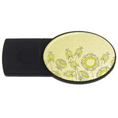 Sunflower Fly Flower Floral Usb Flash Drive Oval (4 Gb)