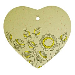 Sunflower Fly Flower Floral Heart Ornament (two Sides)